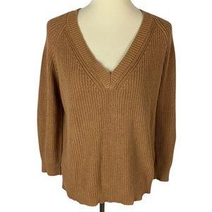 Forever 21 Burnt Orange V-Neck Cotton Knit Sweater
